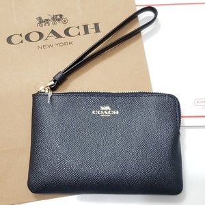 New! COACH Leather Signature Wristlet